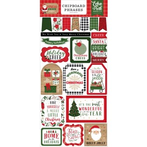 6x13 Chipboard Phrases - Jingle All The Way - Echo Park