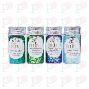 Peacock Feathers - Pure Sheen Confetti - Set di Paillettes Nuvo