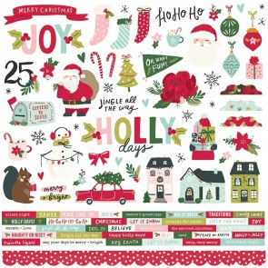 Holly Days Chipboard Stickers - Simple Stories
