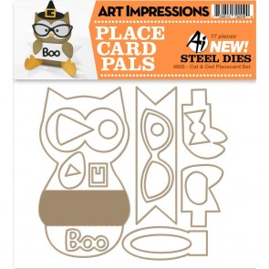 Cat & Owl Placecard Set - Fustella di Art Impressions