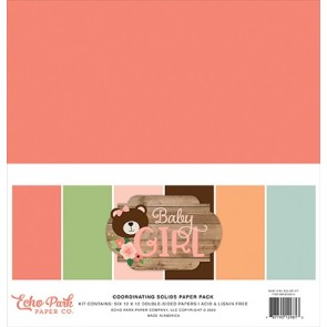 Baby Girl Coordinating Solids Paper Pack - Blocco di carte Echo Park 30x30 cm