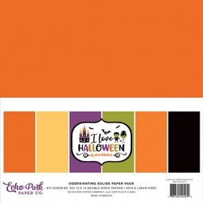 Happy Halloween Coordinating Solids Paper Pack - Blocco di carte Echo Park 30x30 cm