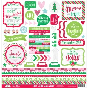 Here Comes Santa Claus This & That Stickers - Doodlebug