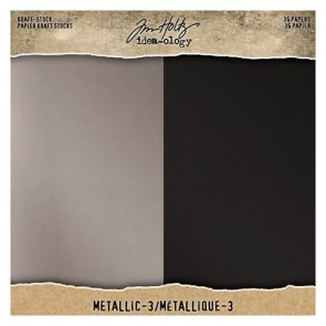 Metallic 3 Kraft Stock - Blocco di carte Tim Holtz Idea-Ology 20x20 cm