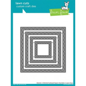 Outside in Stitched Scalloped Square Stackables - Fustella Lawn Fawn