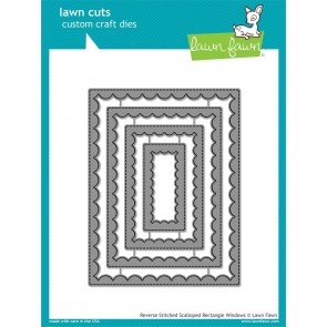 Reverse Stitched Scalloped Rectangle Windows - Fustella Lawn Fawn