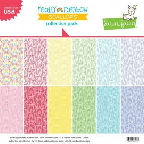 Really Rainbow Scallop Collection Pack - Blocco di carte Lawn Fawn 30x30 cm