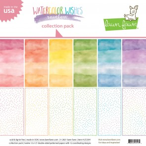 Watercolor Wishes Rainbow Collection Pack - Blocco di carte Lawn Fawn 15x15 cm