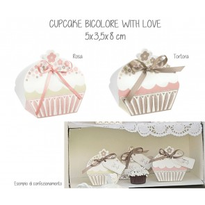 Scatolina Cupcake Bicolore With Love (20 pezzi)
